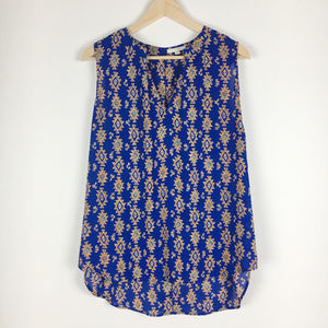 Pleione Aztec Tribal Print Sleeveless Top Size L